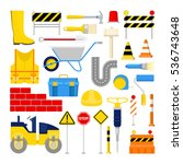 road construction works icons... | Shutterstock .eps vector #536743648