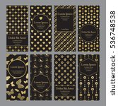 flyers with patterns in gold... | Shutterstock .eps vector #536748538