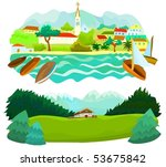 set of a various scenery a ... | Shutterstock .eps vector #53675842