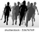vector drawing running athlete... | Shutterstock .eps vector #53676769
