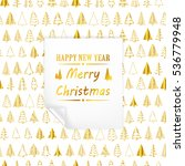 merry christmas gold withe card ... | Shutterstock .eps vector #536779948