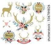 deer antlers with flowers  deer ... | Shutterstock .eps vector #536784826