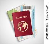 passport with airplane ticket... | Shutterstock .eps vector #536794624