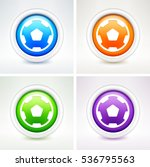 soccer ball on colorful round... | Shutterstock .eps vector #536795563