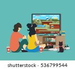 boy and girl playing tv game.... | Shutterstock .eps vector #536799544