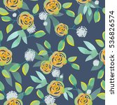 seamless pattern with flowers... | Shutterstock . vector #536826574