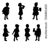 child silhouette cute set in... | Shutterstock .eps vector #536881603