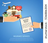 insurance services concept with ... | Shutterstock .eps vector #536886304