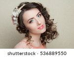 beautiful woman with dark curly ... | Shutterstock . vector #536889550
