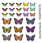 butterfly set  isolated on... | Shutterstock .eps vector #536895070