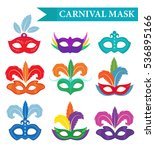 masquerade mask set  flat style.... | Shutterstock .eps vector #536895166