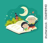 grandmother tells a fairytales... | Shutterstock .eps vector #536898940