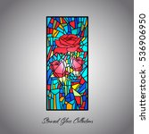 stained glass rose decorative... | Shutterstock .eps vector #536906950