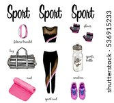 fitness collection hand drawn... | Shutterstock . vector #536915233