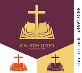 church logo. christian symbols. ... | Shutterstock .eps vector #536916088