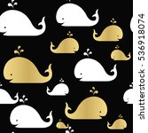 Whales Seamless Pattern. Gold...