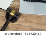workspace with law gavel  top