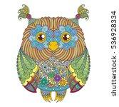 vector cute zentangle owl... | Shutterstock .eps vector #536928334