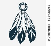 tribal feathers dreamcatcher....   Shutterstock .eps vector #536930068