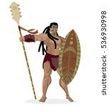 maori brave warrior with shield ... | Shutterstock .eps vector #536930998