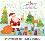santa claus with gifts on snowy ...   Shutterstock .eps vector #536960800