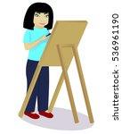little girl an artist   Shutterstock .eps vector #536961190