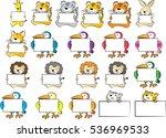Stock vector vector cartoon animals holding a blank card 536969533