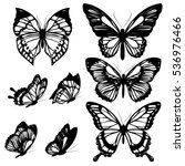 Stock vector black butterflies isolated on a white 536976466