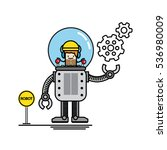 the engineer kid is control his ... | Shutterstock .eps vector #536980009