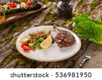 duck fried leg with sauce on... | Shutterstock . vector #536981950