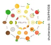 fruits and fruit slices with... | Shutterstock .eps vector #536994508