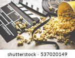 watching movie with popcorn on...   Shutterstock . vector #537020149