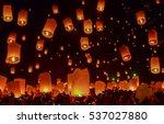 sky lantern festival  chiang...   Shutterstock . vector #537027880