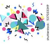 memphis trendy seamless border... | Shutterstock . vector #537033349