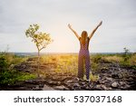 happy beautiful woman on the... | Shutterstock . vector #537037168