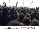 fans in the stadium supporting... | Shutterstock . vector #537043264