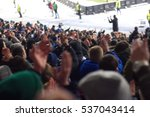 fans in the stadium supporting... | Shutterstock . vector #537043414