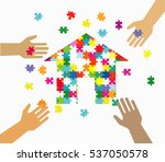 four hands putting multicolor... | Shutterstock .eps vector #537050578