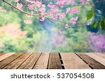 old wood floor with pink ... | Shutterstock . vector #537054508