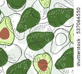 seamless pattern with avocado.... | Shutterstock .eps vector #537066550