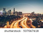 city scape and network... | Shutterstock . vector #537067618