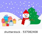 snowman and gifts. christmas. | Shutterstock .eps vector #537082408