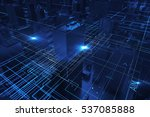 abstract 3d city rendering with ... | Shutterstock . vector #537085888