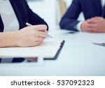 business woman taking notes at... | Shutterstock . vector #537092323