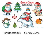 collection of cartoon santa... | Shutterstock .eps vector #537092698