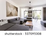 modern room with grey furniture ... | Shutterstock . vector #537095308