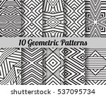 set of 10 geometric patterns.... | Shutterstock .eps vector #537095734