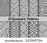 set of 10 geometric patterns.... | Shutterstock .eps vector #537095734