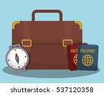 suitcase with travel related... | Shutterstock .eps vector #537120358
