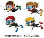 four kids scuba diving...   Shutterstock .eps vector #537123208